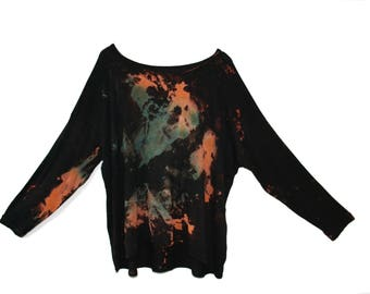 HANDMADE Handdyed oversized dipped hem Top,  Made in Uk. Unique, unusual, Tie Dye, Dip Dye, Acid wash. Eco fabric. Fair Trade