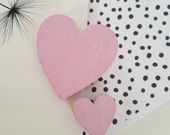 2 pink heart magnets, fridge magnets, heart, love magnets
