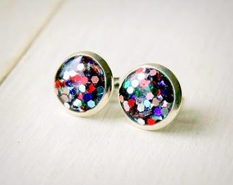 glitter resin post earrings, stud earrings, rainbow glitter, sparkle earrings