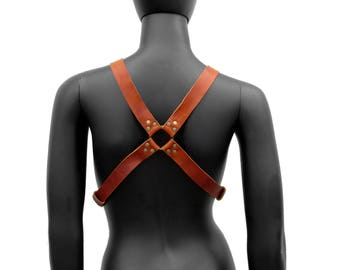 Men's X Harness Steampunk Leather APOLLO Style in Rust & Antique Brass