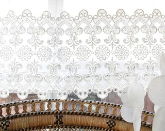 long short white sheer floral lace window valance curtain panel / window decor
