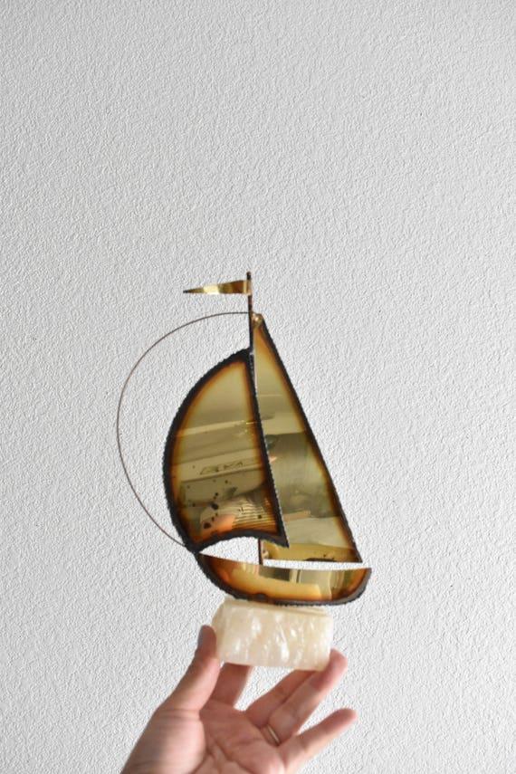 vintage copper stone sail boat sculpture / ship figurine / jere style