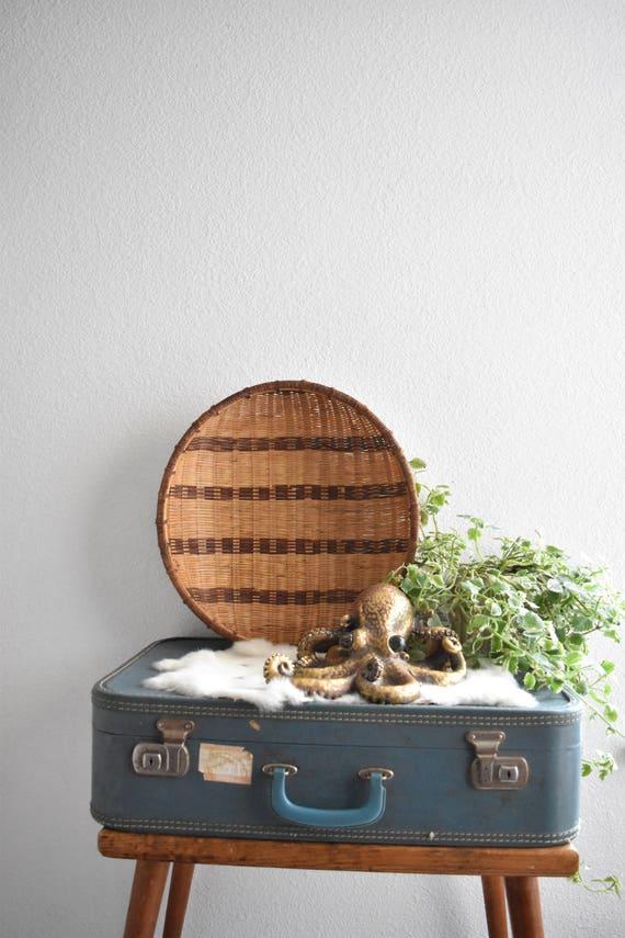 "17"" large striped woven rattan nesting basket"