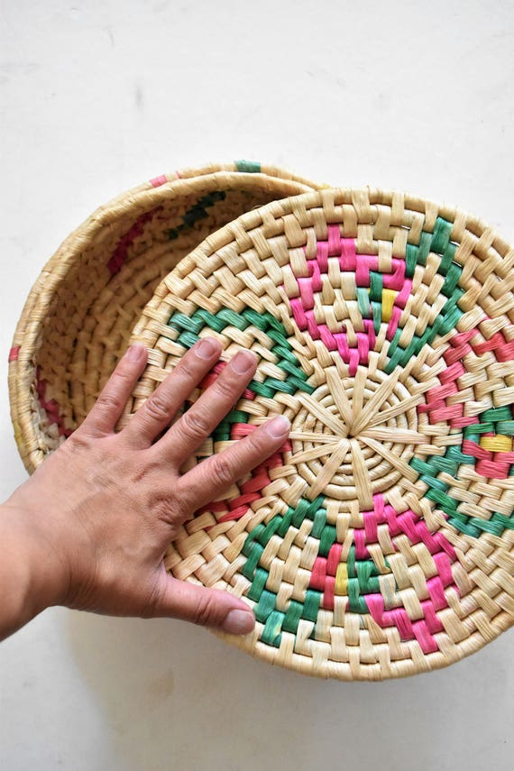 large spanish decorative colorful woven straw basket with lid / gift boxes / trinket box / favor box
