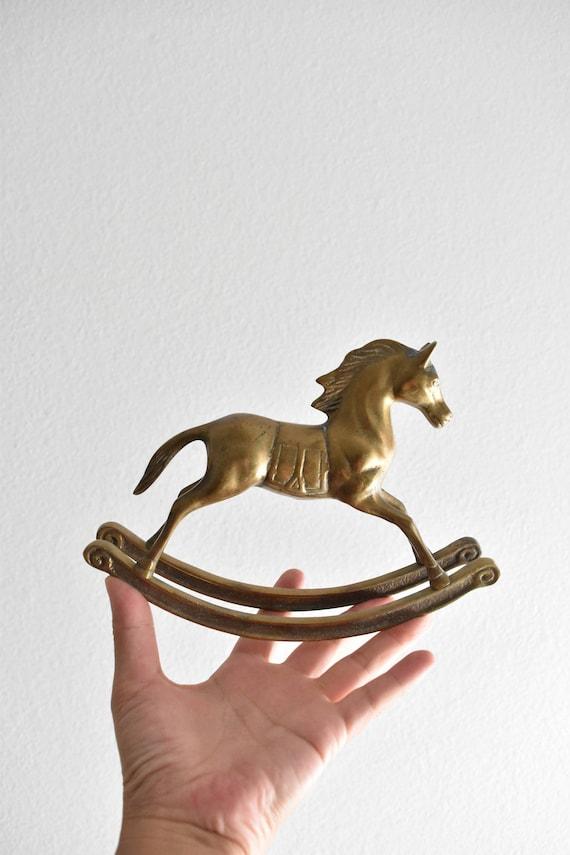 vintage mid century solid brass horse figurine / rocking horse / western