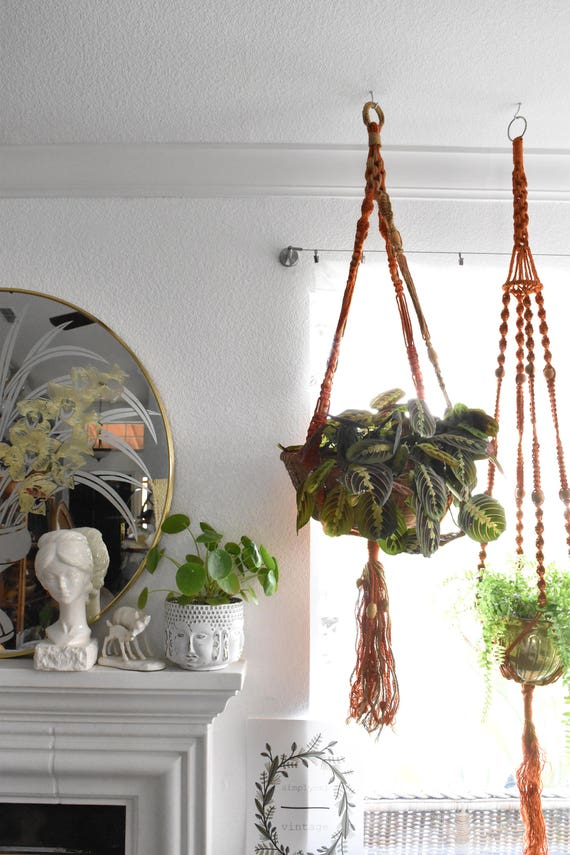 "64"" vintage beaded orange jute macrame planter hanger / indoor plant holder / hanging pot / bohemian"