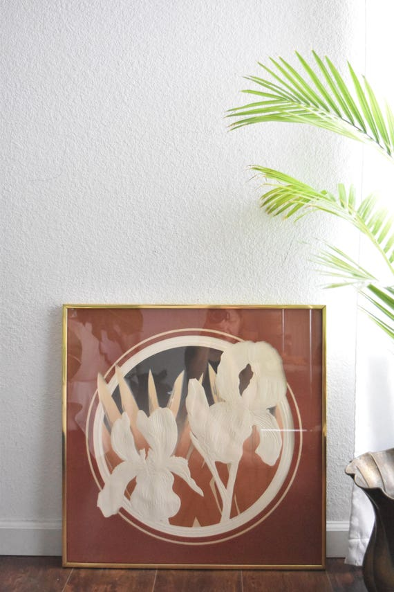 large circle frame matted textured iris flower print / signed
