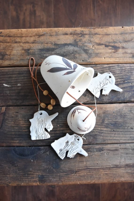 white unicorn bisque ceramic bell / pottery / windchime