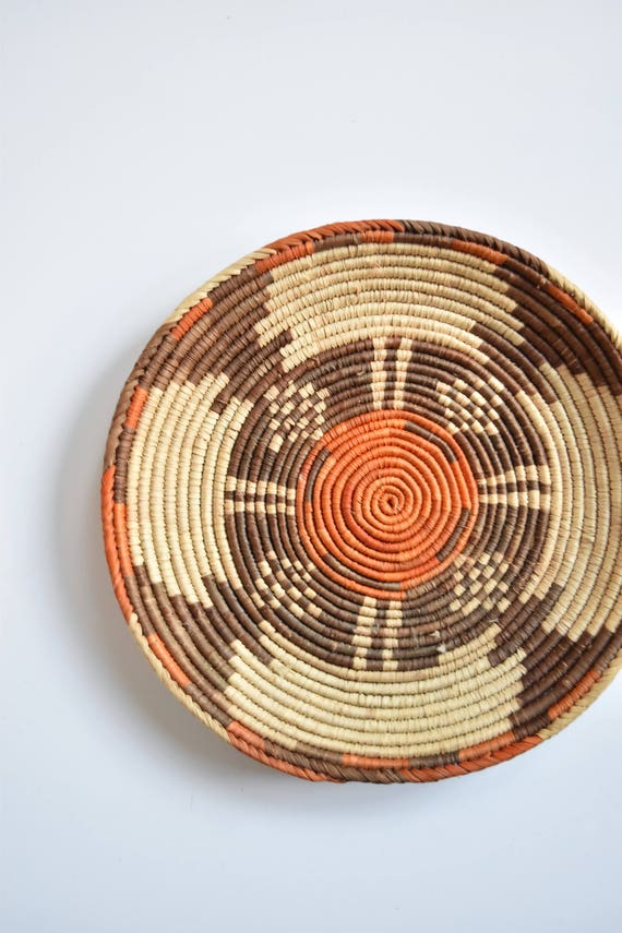 "12"" tribal orange brown woven coiled african wall basket / ethnic"