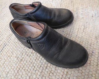 Women's Black Leather Ariat Clog Shoes with Zippers . Barn Shoes . Size 6.5B