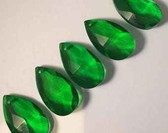 5 ~ GREEN 38mm Chandelier Crystals Prisms - 38mm Faceted GREEN Crystals Prisms Pendants