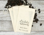Personalized Baby Shower favor bags, set of 10 cloth favor bags, hand stamped favor, coffee favor bags, A Baby is Brewing, cotton favor bag