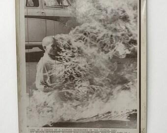Iconic Original 1963 Burning Monk Press Photo Historical Photography