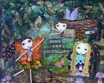 WOODLAND FAIRIES, Fairy, Fairy Tale, Fantasy Art, Girls room, Wall Decor, Art Print, Mixed media, Children's room, soulful, art, whimsical