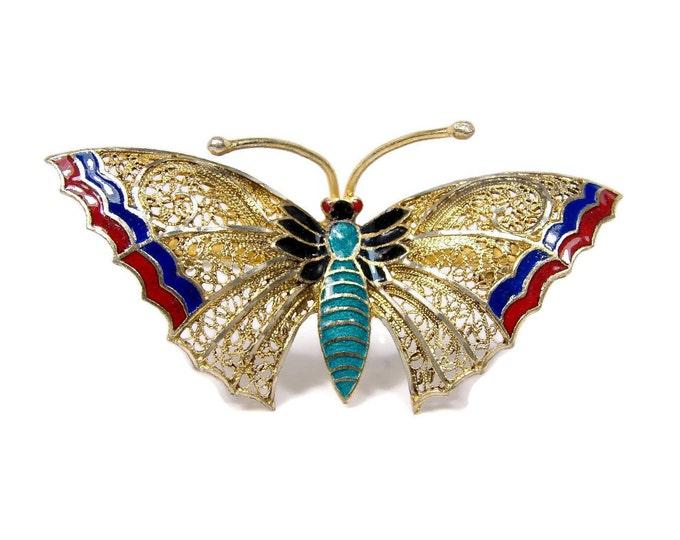 Vintage 800 Silver Enamel Butterfly Pin