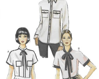 Vogue 8855 Misses' Loose Fitting Blouse with Collar and Front Pockets Sewing Pattern Size 14 to 20, Bust 36 to 44