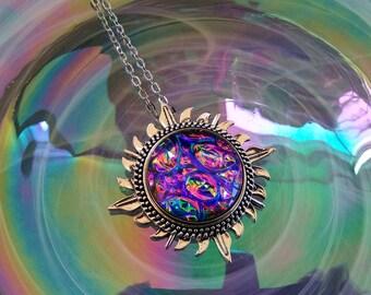 Royal Purple Victorian Necklace, Handmade Glass Purple Opal, Renaissance Necklace, Color-Shift