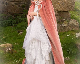 Pink velvet hooded cloak Beautiful for a wedding, handfasting, quality cotton velvet with large hood, cosplay, LOTR, medieval, Poldark