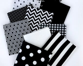 Black and White Bundle of 10 Fat Quarters, 100% cotton fabric for Quilting, arts, crafts and general sewing projects.