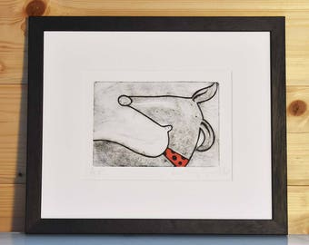 Handprinted running whippet print, original whippet art print, handmade dog print, handpulled whippet drypoint etching print dog unframed