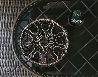 1970s Straw Trivet or Wall Basket