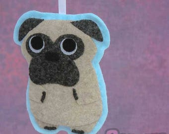 Pug - Felt Dog - Handmade Christmas Ornament - Peaches the Pug