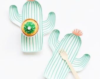 Cactus Plates - Mexican Fiesta Party Decor, Summer Table Decor, Taco Bar, Cinco de Mayo, Bachelorette Party Decorations, Southwest Wedding