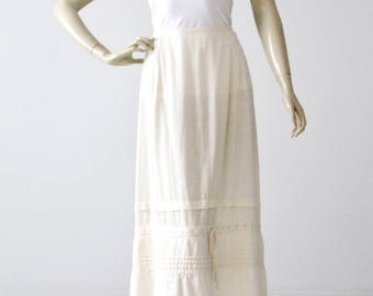 antique petticoat, Edwardian slip, white cotton skirt