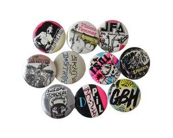 Vintage Punk Pins, Ten Punk Band Buttons Lot