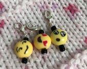 Emoji Stitch/Progress Markers, Zipper Pull - Mixed Emoji