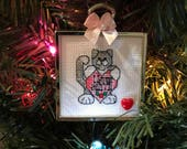 Kitty Loves Santa Cros Stitch Ornament