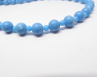Tiny White Splashes on Light Blue Bead Necklace