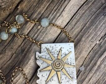 arizona state sun love brass sterling silver brass aqua marine stone mixed metal pendant necklace southwestern jewelry state art
