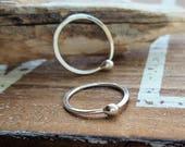 18 gauge Fine Silver Ball Hoops, Cartilage Earrings, 12mm - Small Hoops, Artisan Jewelry