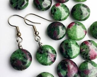 Ruby in Zoisite Gemstones . Earrings