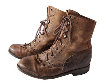 Vintage Brown Leather Lacer Ankle Boots Size 6.5 B