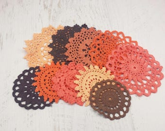 10 Halloween Color Doilies, Hand Dyed Doilies, 2 to 4 inches, Orange, Black, Brown Doilies for Crafts and Decorating, Vintage Doilies
