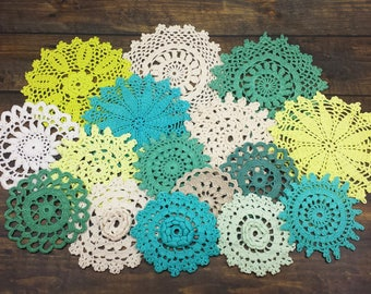 Green, White, and Beige Doilies, 16 Hand Dyed Doilies, Small Size Doilies for Crafts, 2.5 to 5 inch Doilies, Shades of Green and Neutrals