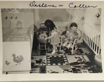 "Vintage Photo ""Darlene's Daycare"" Snapshot Antique Black & White Photograph Paper Found Ephemera Vernacular Interior Design Mood - 63"