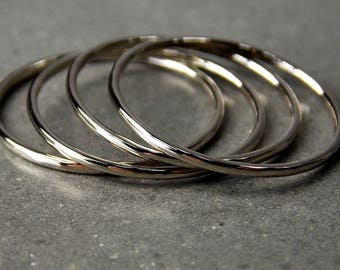 10% Off - Size 7 14K White Gold Stacking Rings, Set of Four, Ready To Ship