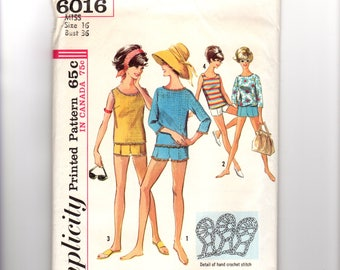 1960s Misses Short Shorts Pattern with Top Pattern, Short and top have crocheted lace edging, Bust 36 Size 16, Simplicity 6016, Vintage