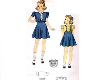 1940s Girl's Suspender Skirt Pattern, Puff Sleeve Blouse and Bolero, Size 4, Breast 23, Simplicity 3724, Factory Fold, Vintage