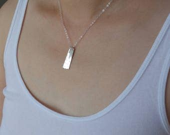 Four Bar Vertical Bar Necklace 4 Year Anniversary 40th Birthday Gifts for Women Silver Bar Necklace Geometric Trendy Necklace Dangle