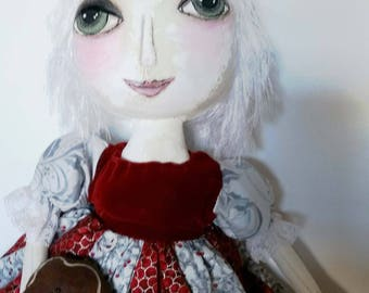 Red Prim Doll/ Doll/ Valentines Gift for her / Primitive Dolls / Cloth Doll / Christmas Gifts For Her/ Gingerbread Doll  /American Dolls