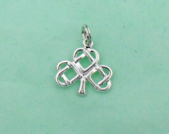 Celtic Shamrock Irish Clover Charm Sterling Silver Pendant Celtic Plant Leaf