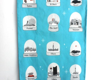 Canadian cities Tea Towel: Black and White snow globes