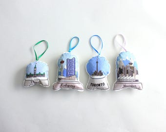City Snow globe ornaments set of 4- e tree decorations- Christmas ornament set