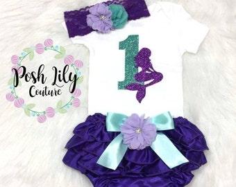 Birthday Girl Bloomer Outfit, Mermaid birthday girl ruffle bloomer, glitter mermaid birthday,Mermaid smash cake outfit purple ruffle bloomer