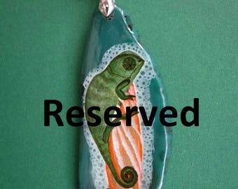 Reserved for birtasophia FREE SHIPPING handpainted stone   Pendant chameleon  painted