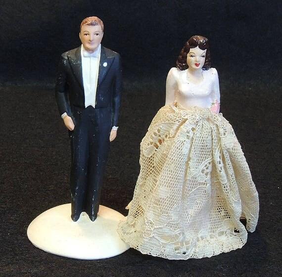 Vintage 1940's Chalkware Wedding Cake Topper Bride & Groom.. Coast Novelty